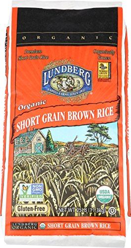 Lundberg Short Grain Brown Rice 25 Pounds Organic Packaging May Vary
