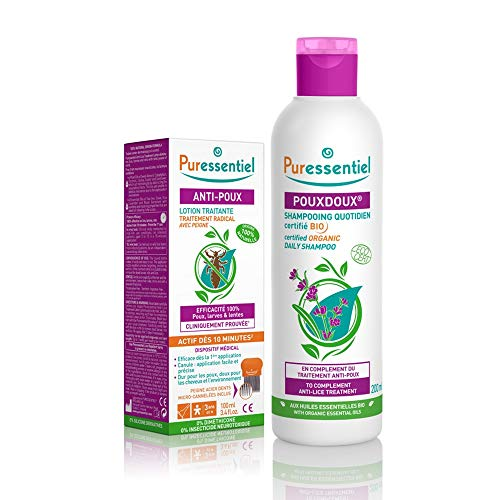 Puressentiel Anti-Poux Lotion Traitante 100 ml + Peigne + Pouxdoux Shampoing Quotidien Bio 200 ml