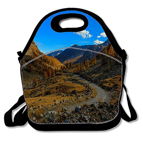 France Mountains Sky Roads Stones Autumn Alps Neoprene Lunch Bags for Women Men, Insulated Lunch Bag Work Outdoor Travel Picnic Handbags Tote