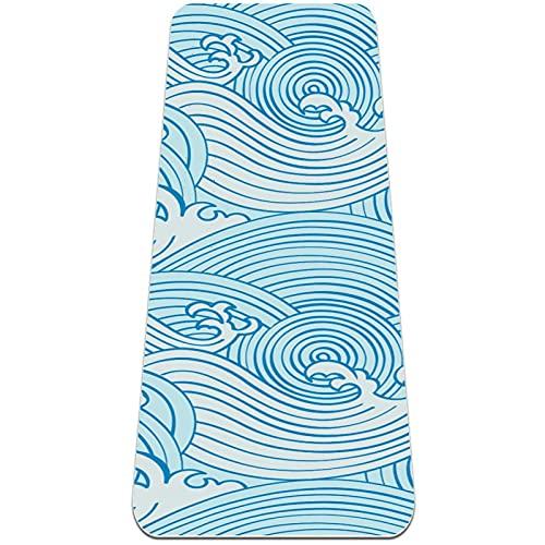 Esterilla de yoga extra gruesa, duradera, respetuosa con el medio ambiente, antideslizante para ejercicio descalzo y gimnasio en casa de primera calidad, alfombra azul
