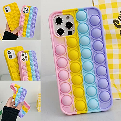 Blaspins [Extra Soft] Pop It Case for iPhone 13 Pro (2021),Cute Silicone Fun Cartoon Girl Kid Boy Teen Cool Push Pop Bubble Wrap Fidget Toy Anxiety Calm Stress Cover Shockproof(6.1 inch)13Pro- Rainbow