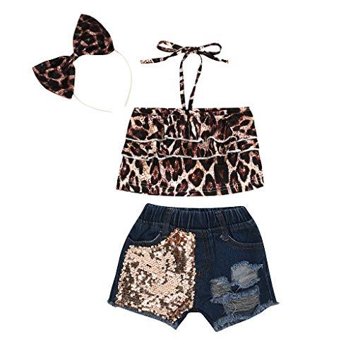 Moneycom❤Toddler Kids Baby Girls Leopard Ruffle Vest Sequins Denim Shorts Summer Outfits Jaune(18-24 Mois)