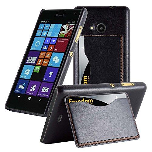 Cadorabo Custodia per Nokia Lumia 535 Custodia Hard Cover VANI DI CARTE in NERO – Rigida Cover Protettiva Super Sottile con Bordo Protezione – Back Case Ultra Slim Bumper Fina Antiurto Guscio Plastica Originale