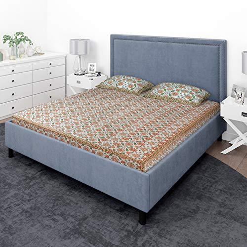 GURU JEE Couvre-lit 100 % coton pour lit double Imprimé floral indien Couvre-lit avec 2 taies d'oreiller 160 fils 228 x 274 cm