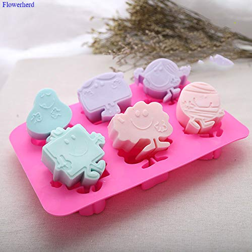 QNMLGB 6 Cavities Food Grade Weiche Silikon-Nette Spongebob handgemachte Seifen-Form-Cartoon-Kuchen-Silikon-Form-Seifenherstellung Set