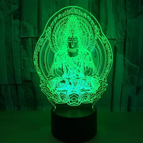 3D Optische Täuschung Led Lampen, Buddha-Figur 7 Farben Nachtlampe Schlafzimmer Dekor Wand Schreibtisch Tischlampe Nacht Als Anleitung Festliche Geschenke Ideen Für Kinder Jungen Mädchen