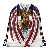 Hangdachang - Mochila con cordón de águila calva y bandera americana