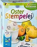 Heitmann Oster Stempelei - 5 flüssige Eierfarben - 4 Stempel - Stempelkissen - Erdnussöl - Kinderhandschuhe - Handschuhe