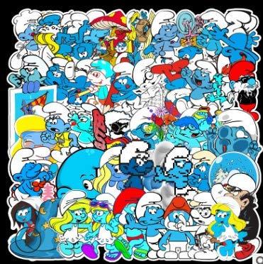 KATTERS Europäische und amerikanische Cartoon Schlumpf Graffiti Aufkleber Gepäck Roller Laptop Aufkleber wasserdicht 52 Blatt