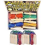 Pack de 25 Cuerdas para Saltar Partituki. Combas con Mango de Madera. Ideal para Juegos al Aire Libre y Detalles de Cumpleaños Infantiles.