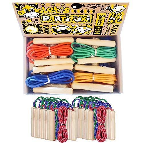 Partituki Packung mit 12 Springseilen. Holzgriff Springseile. Ideal für Spiele im Freien und Kindergeburtstagsgeschenke.