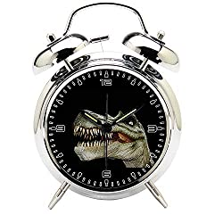 6. Girlsight Children's Silver Dinosaur Twin Bell Alarm Clock