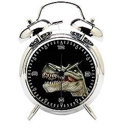 Children's Room Silver Dinosaur Silent Alarm Clock Twin Bell Mute Alarm Clock Quartz Analog Retro Bedside and Desk Clock with Nightlight-215.320_Dinosaur, Dino, Giant Lizard, Prehistoric Times, T Rex