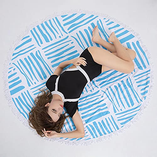 Panqi Vacaciones Junto al mar Toalla de Playa Picnic Yoga cojín Redondo Microfibra impresión Digital Toalla de baño de Secado rápido 150 * 150 cm