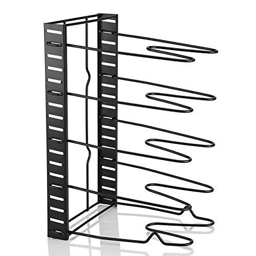 Ausla Pot Storage Rack, Organizer Saucepan Shelf Pan Stand Free Standing Lids Holder for Kitchen