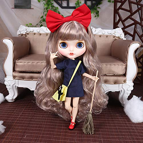 HYZM Blythe Doll 1/6, 19 Joints Blythe Muñeca + Maquillaje + Ropa completa + 4 ojos de colores + 9 pares de manos, pelo largo rizado champán.