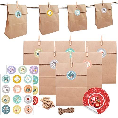 Papiertüten Adventskalender zum Befüllen, 24 Geschenktüten + 24 Papieraufkleber + 24 Mini-Holzklammern +1 Juteschnur,Kraftpapier Papier-Tüte Geschenkbeutel Weihnachtskalender tüten
