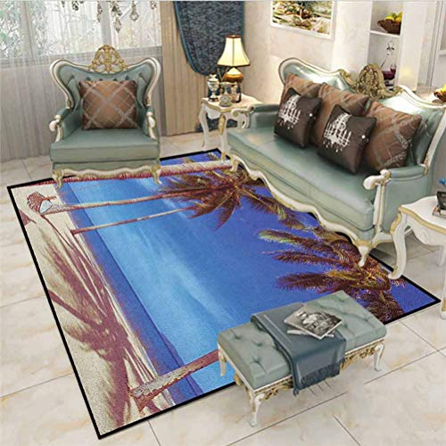 Beach Throw Rugs Bath Rugs Bath Rugs for Bathroom Image of an Hammock at Golden Tropical Beach by The Ocean with Palms Surreal Rugs for Christmas and Thanksgiving Navy Cream Green 5 x 7 Ft