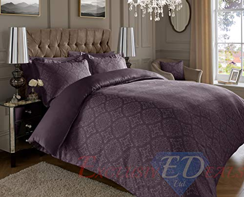 ED Luxurious Jacquard 600 Thread Count Super Soft Cotton Rich Warm Ornamental Duvet Cover Set With Oxford Pillowcases (Super King, Plum)