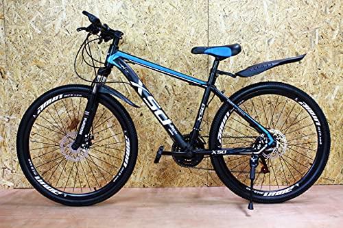 Bicicleta de montaña junior negro y azul 26'' rueda 21 velocidad marco de acero frenos de disco niños y niñas ZL
