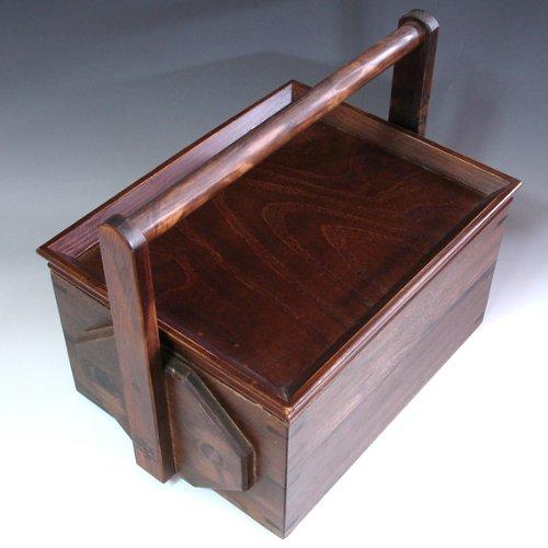 Set à Thé en bois repas alimentaire vin Transporteur Panier de pique-nique avec plateau de service Boîte avec poignée