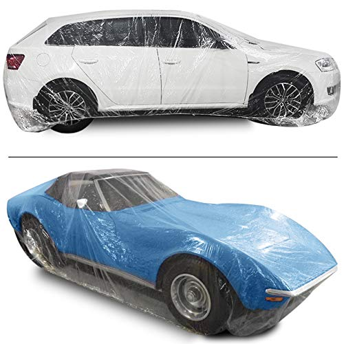 Bestauto Clear Plastic Car Cover 10pcs Disposable Car Covers, 22' x 12' Universal Plastic Car Cover, Waterproof Dust-Proof Full Cover, Outdoor Indoor Car Cover, Effective Protection, Universal Type