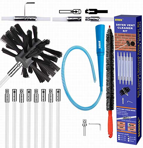 AFUUFA 16ft Dryer Vent Cleaner Kit, Lint Remover for Dryer Cleaning Brush with Flexible Rods, Reusable Duct Brush with Vacuum Hose Adapter and Dryer Lint Trap Brush can Thorough Cleaning and Multi-Use