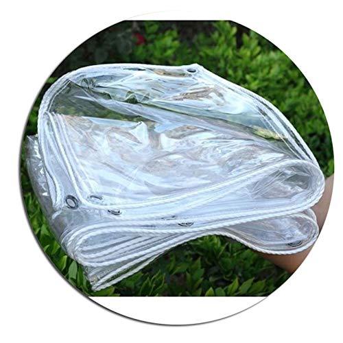 SHIJINHAO Transparent Tarpaulin, 100% Waterproof Heavy Duty Clear Vinyl Tarp PVC Tarpaulin, Rainproof UV Resistant Tarpaulin with Eyelets Aluminium rings Reinforced Edges, Backyard Terrace Cover