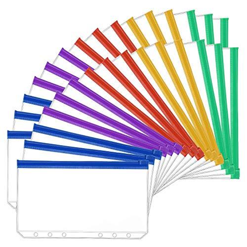 Varadyle 30 Pezzi Formato A6 6 Fori Raccoglitore Tasche nel Plastica Colorato Raccoglitore Cartelle con Cerniera per 6 Anelli Notebook Raccoglitore Fogli Sciolti