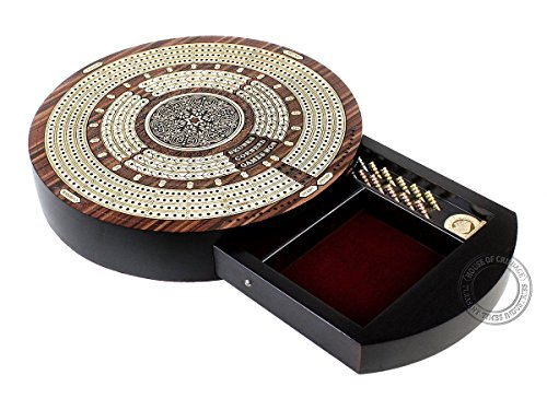 House of Cribbage - 10' Round Shape 4 Tracks Continuous Cribbage Board - Rosewood / Maple - Push Drawer with Score Marking Fields for Skunks, Corners & Won Games