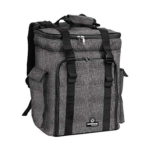 outdoorer Kühlrucksack grau Cool Butler 35 – Leichter, Isolier-Rucksack mit Fächern, 35L Picknickrucksack
