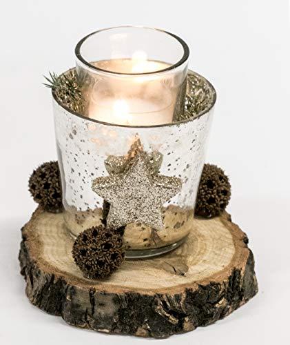 Adventsgesteck Nr.60 Baumscheibe mit Glas und Teelicht Winterdeko Weihnachtsgesteck, Wintergesteck, Advent Adventskranz