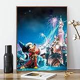 ACENGXI Disney Paint by Numbers Disney DIY Paint by Numbers Disney Castle DIY Canvas Paint by Numbers Mickey Mouse Painting Kits Paint by Number Kits Disney Paint by Number for Adults Kids 16x20In
