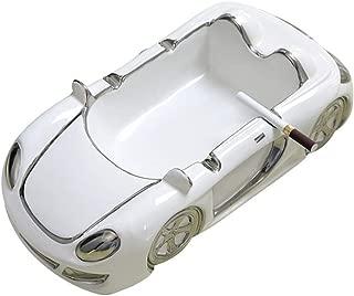 ZHOU YANG Creative Car-Shaped Ashtray Personality, Multi-Functional Ashtray, Ceramic Crafts, White (Golden Border) / Silver White (Silver-White Border) (Color : Silver)