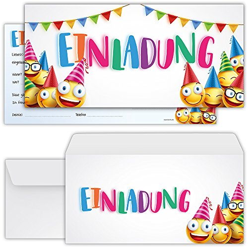 beriluDesign Smiley Einladungskarten zum Geburtstag Mädchen Jungen Kinder - Einladungen Kindergeburtstag Party Emoji mit Umschlägen