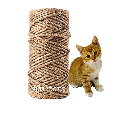 MEISHANG Seil für Katzenbaum,Natural Sisal Seil,Katzen Natürlich Sisal Seil,Katzen Zubehör Kratzbaum,Seil für Kratzbaum,Natürliches Sisalseil,Sisalseil für Kratzbaum(40m)