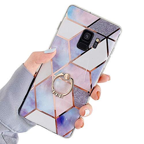 Uposao Kompatibel mit Samsung Galaxy S9 Hülle mit 360 Grad Ring Ständer Glitzer Bling Strass Glänzend Mädchen Männer TPU Silikon Marmor Muster Handyhülle Schutzhülle Tasche Case,Lila