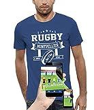 PIXEL EVOLUTION T-Shirt 3D Rugby Montpellier en Réalité Augmentée Homme - Taille XL - Bleu Royal