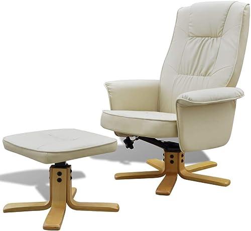 Tuduo Sessel 73 x 77 x 101 cm (B x T x H) mit verstellbarem Fu cker, Kunstleder, Sitzh  ab Boden 45cm, für Erwachsene, Weiß