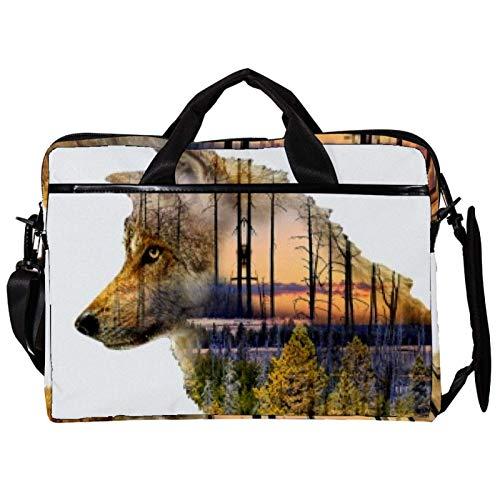Maletín de lona para portátil de 14,5 pulgadas, doble sombra de lobo y bosque, con correas desmontables
