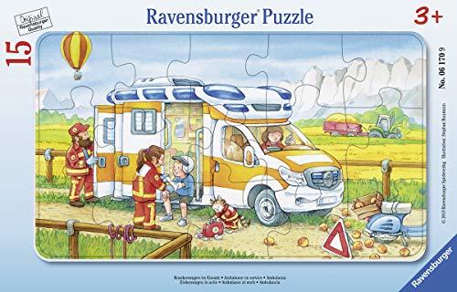 Ravensburger Kinderpuzzle 06170 - Krankenwagen im Einsatz - Rahmenpuzzle