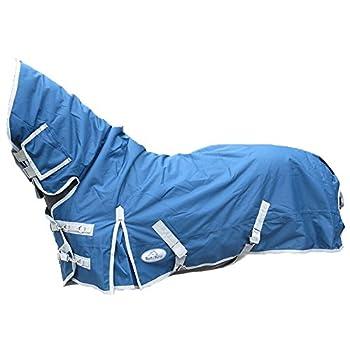 Couverture équestre légère, ventilée, imperméable et couvrant totalement le cou pour équitation, poneys et chevaux, bleu marine, UK 5'6 / EU 125cm