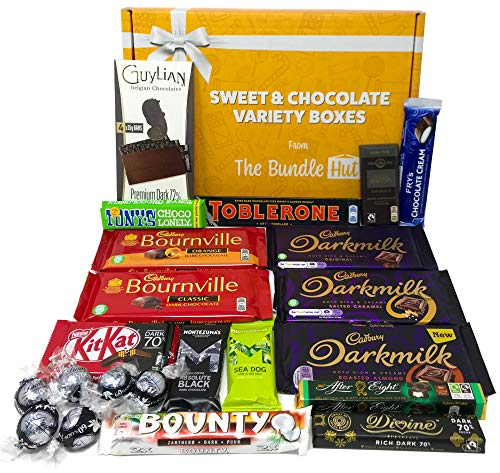 Dark Chocolate Gift Set Hamper Selection Box from The Bundle Hut: Packed with 17 Different Dark Chocolates Bars & Truffles, Gift for Christmas, 1.1kg