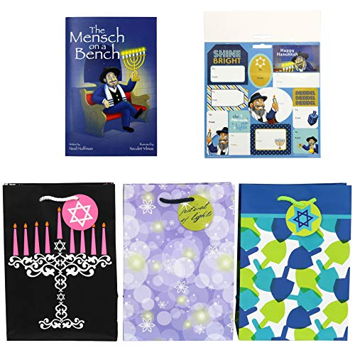 Iconikal Hanukkah Gift Set: Gift Bags, Gift Tags, Mensch on a Bench Book