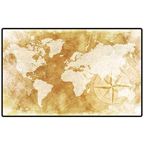 Rubber Mats Old Fashioned World Map Design Rustic World Map with Compass Rose Illustration Background. 2 Outdoor Area Rugs for Sofa/Living Room/Dining Room/Bedroom