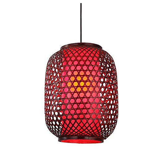 LIWENGZ Lámpara De Bambú Estilo Chino Retro Lámpara De Araña Tejida De Bambú Diseño De Propuesta Luz Colgante De Mimbre Tejida A Mano Roja E27 Cabeza Única Para Bar, Club Restaurante Decoración Lámpar