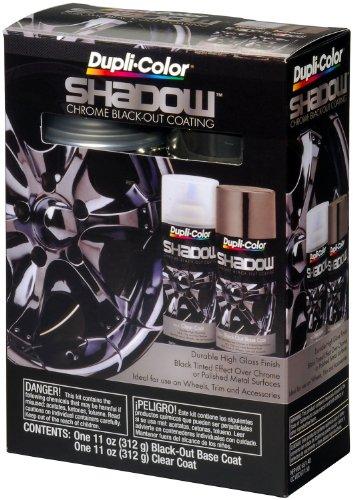 Dupli-Color (ESHD10007 Black/Clear Chrome Black-Out Coating 2-Can Aerosol Kit - 11 oz, (Case of 2)