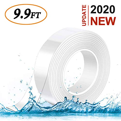 Nano Tape Double Sided Sticky Washable Multipurpos Adhesive Tape Traceless Washable, Heavey Duty Strong Sticky Mounting Tape Gel Poster Tape for Paste Items Office & Household (9.9Ft x 0.89In)