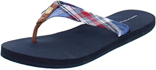 b45bc9859 Tommy Hilfiger Womens Camary Plaid Thong Flip-Flops Blue 8 Medium (B