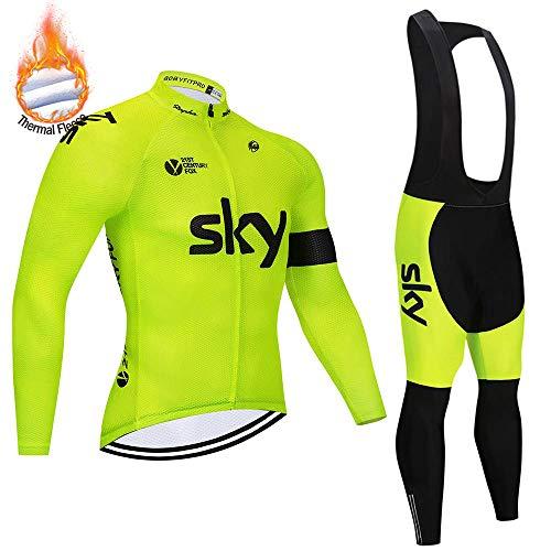SUHINFE Inverno Completo Ciclismo Uomo, Calda Pile Termico Abbigliamento Ciclismo Set Manica Lunga con Pantaloncini Imbottiti Traspiranti per MTB Ciclista
